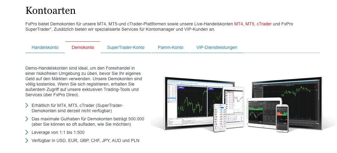 FxPro bietet Tradern auch ein Demokonto.