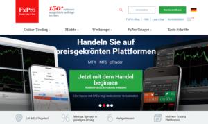 Die FxPro Webseite