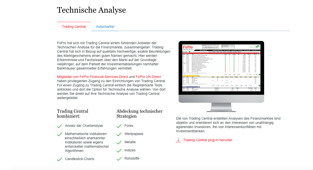 FxPro stellt Tools für die technische Analyse zur Verfügung