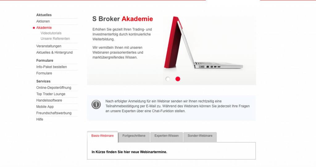 SBroker bietet seinen Kunden kostenlose Weiterbildungsmaßnahmen
