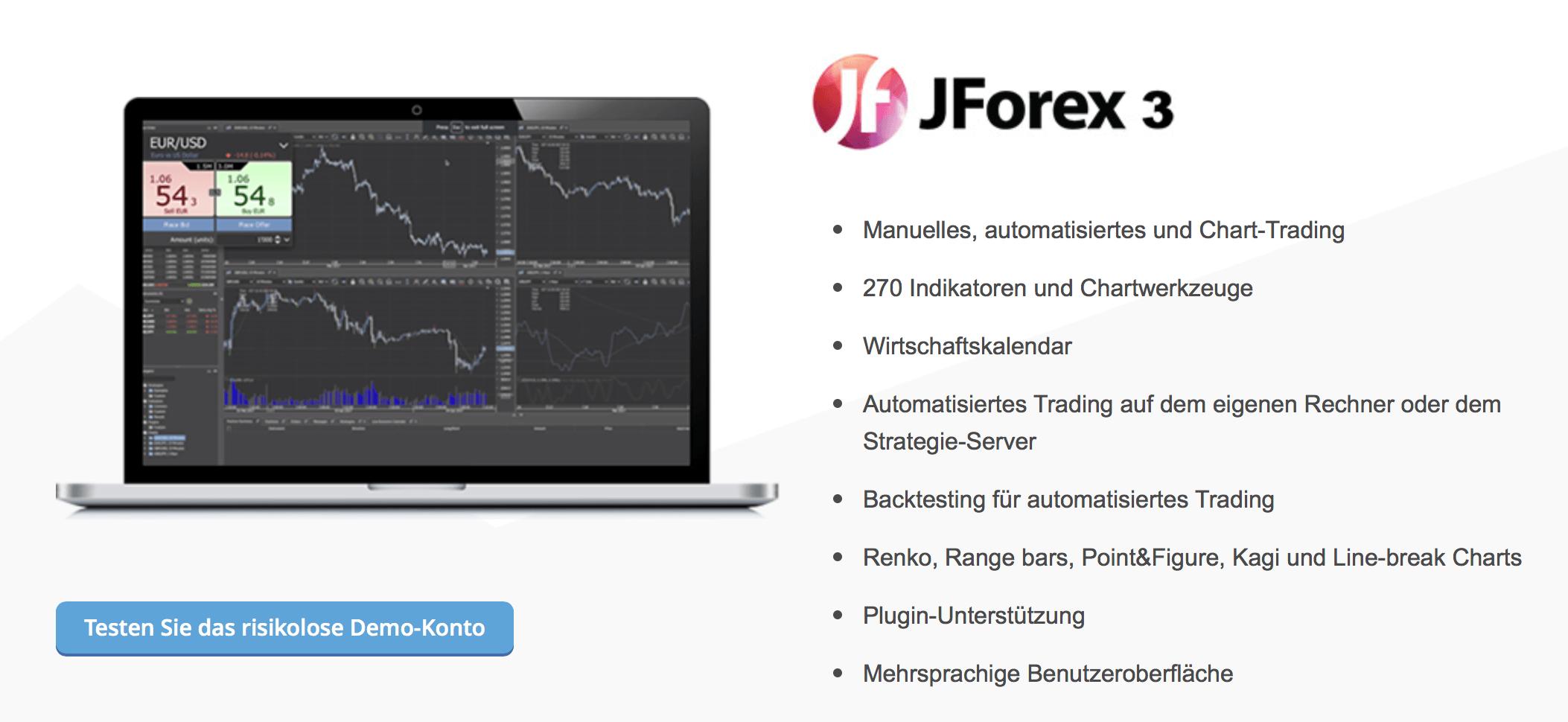 Bei Dukascopy können Trader unter anderem über JForex 3 handeln