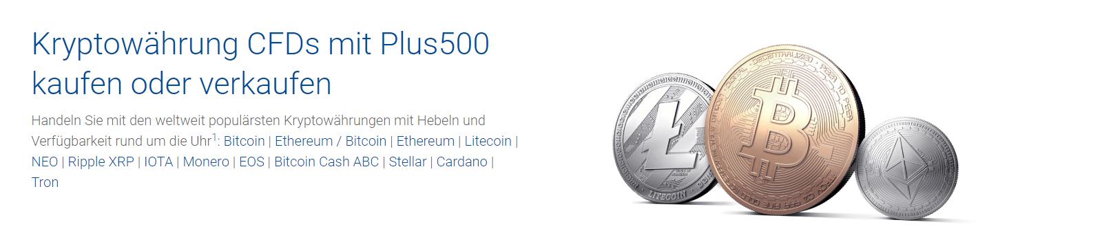 Plus500 bietet den Handel mit Kryptowährungen zu guten Konditionen an