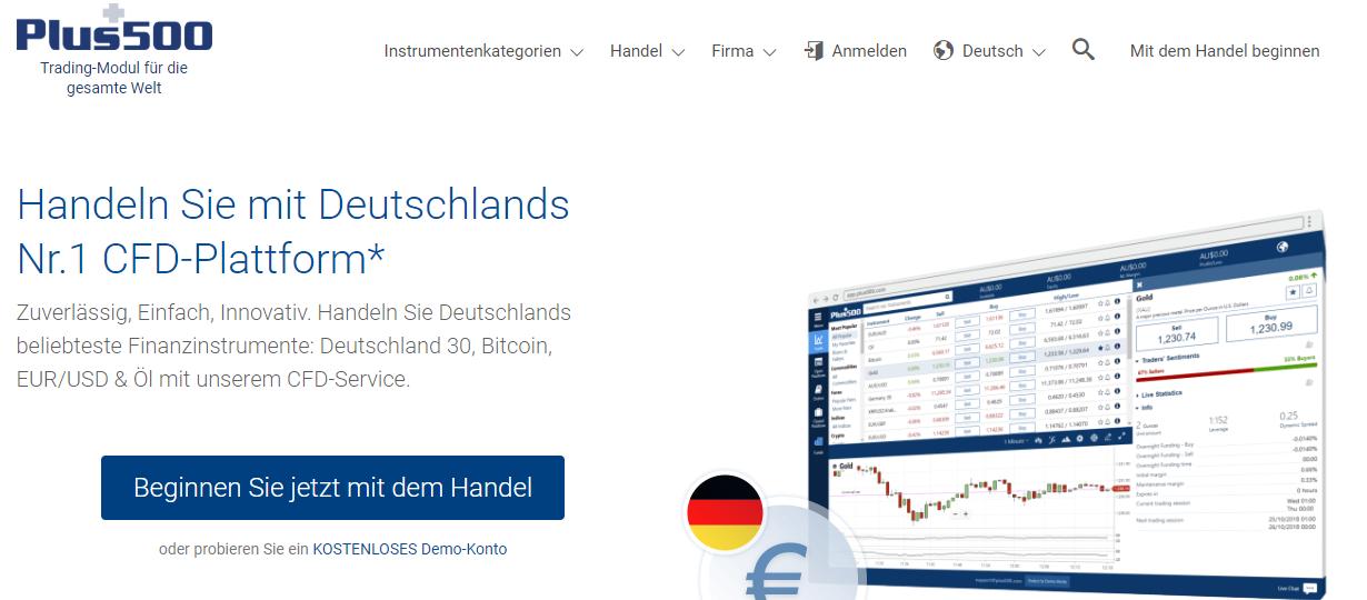Handeln Sie auf der besten CFD-Plattform Deutschlands mit Plus500