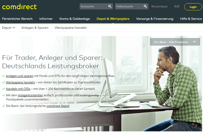 Die comdirect Bank Webseite