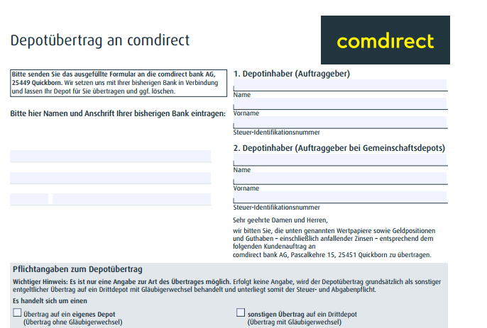 Das Formular zum comdirect Depotübertrag