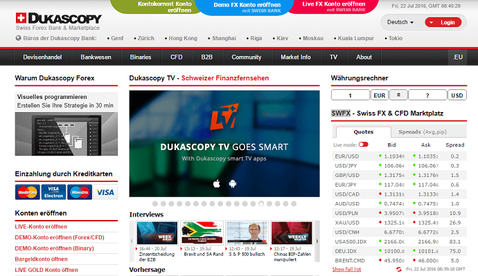 Dukascopy Homepage