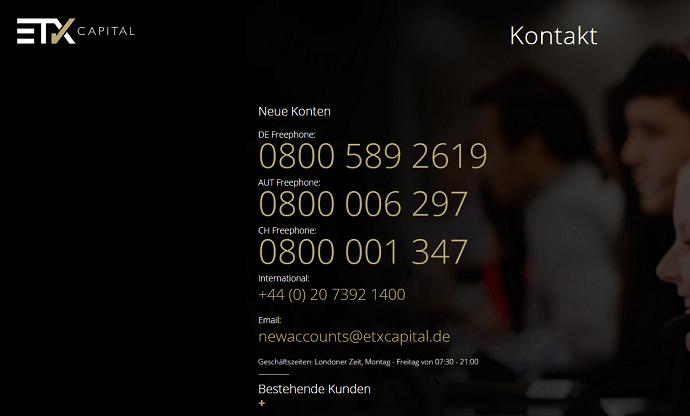 ETX Capital Kundenservice