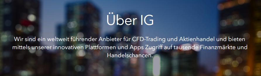 IG ist ein weltweit führender CFD- Trading Anbieter