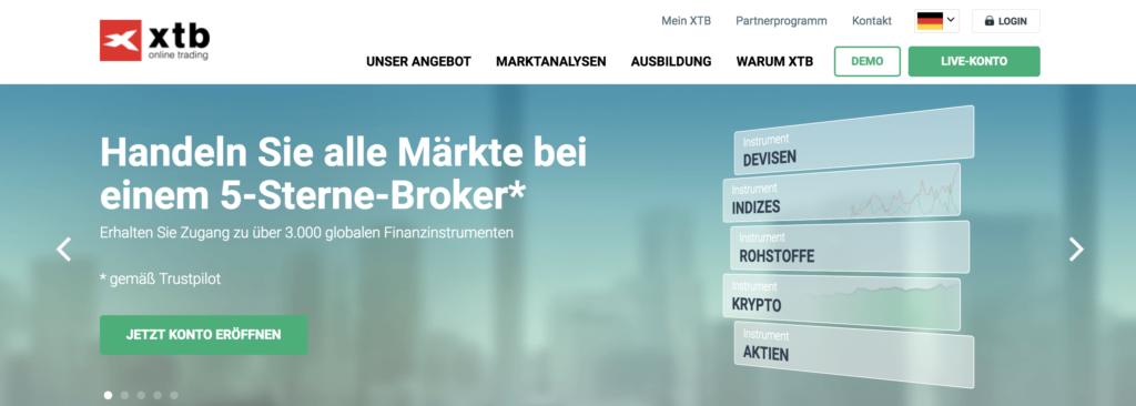 Zahlreiche Finanzprodukte werden bei XTB angeboten