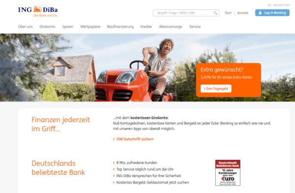ING DiBa Webseite