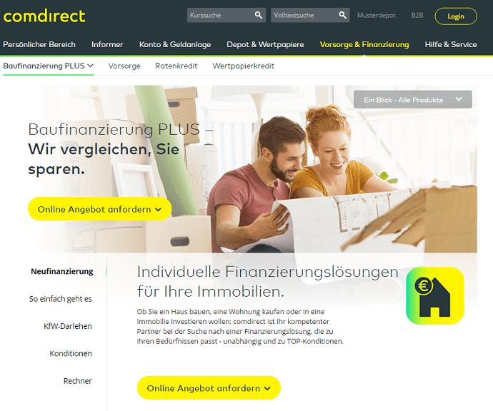 Baufinanzierung mit der comdirect