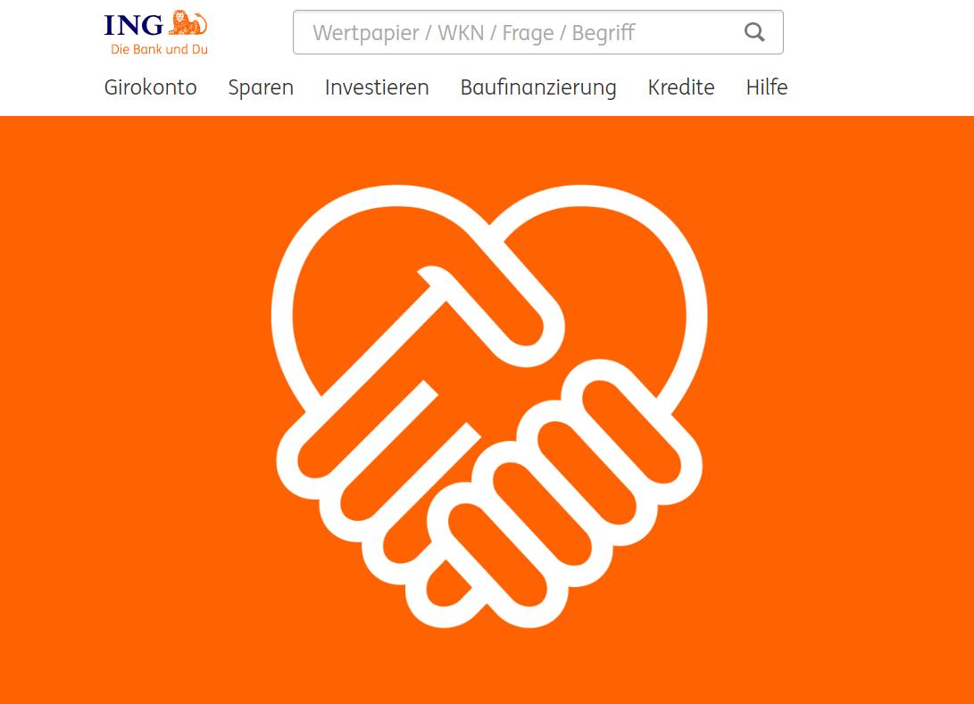 So sieht sie aus, die ING Webseite