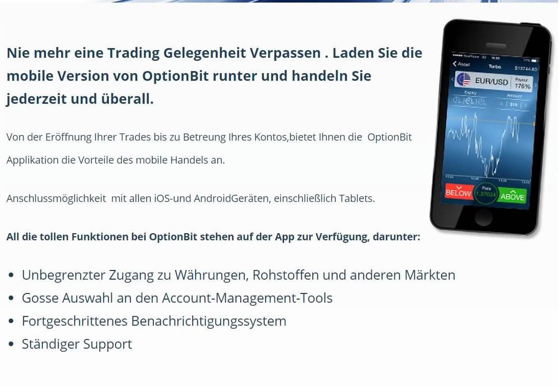 Die Mobile App von OptionBit