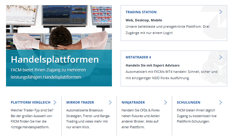 FXCM stellt vier verschiedene Handelsplattformen zur Verfügung.