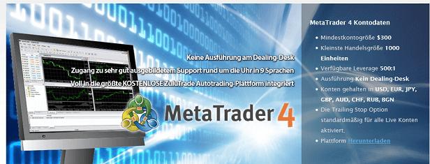 Eine der drei Handelsplattformen des Brokers: Der weltweit beliebte MT4