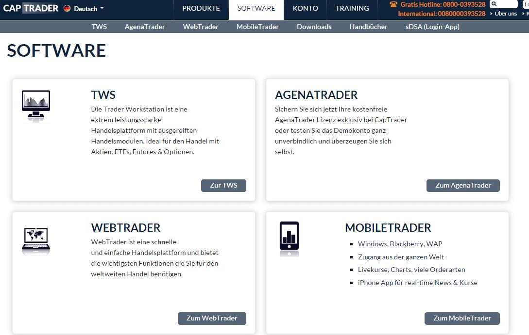 Captrader Traden via Webplattform und mobiles Trading