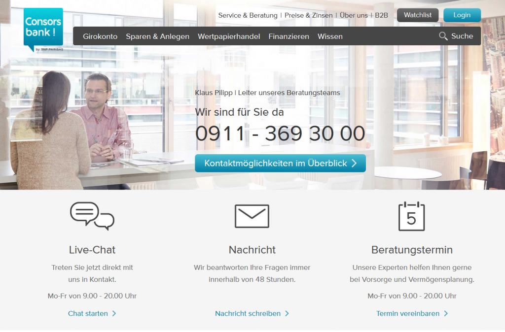 Die Consorsbank Kontaktmöglichkeiten