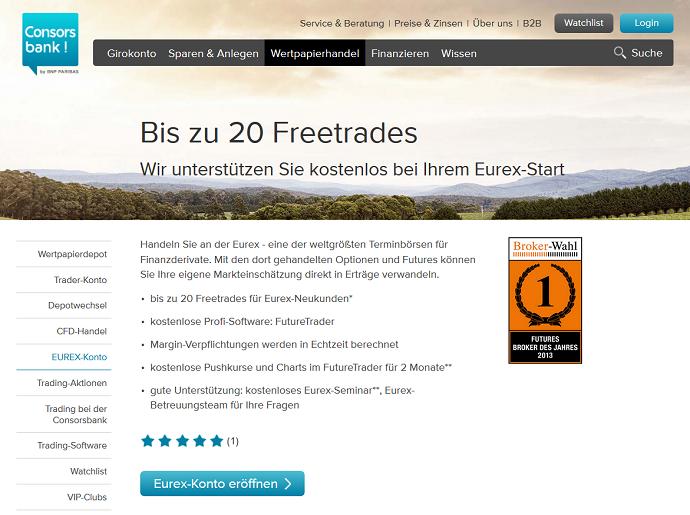 Die Consorsbank ermöglicht auch den EUREX-Handel