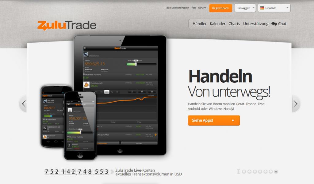 Den Kunden des Unternehmens stehen zahlreiche verschiedene Social Trading Apps zur Verfügung