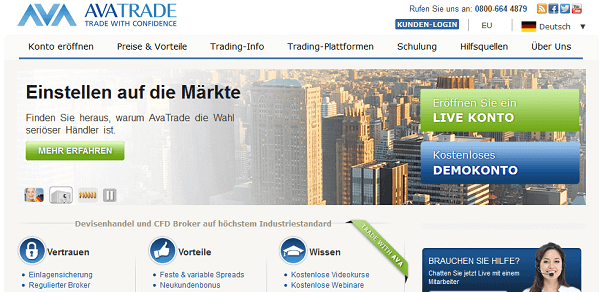 Der Webauftritt von AvaTrade