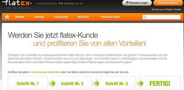 Die Internet-Seite des Brokers flatex