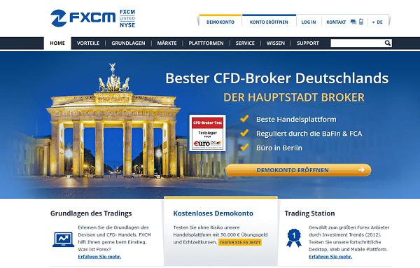 So sieht die Internetpräsenz des Brokers FXCM aus