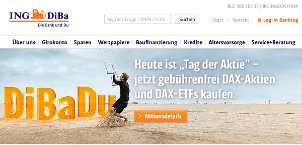 Die ING DiBa Webseite