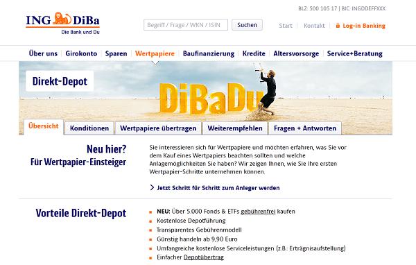 Das ING-DiBa Wertpapierdepot