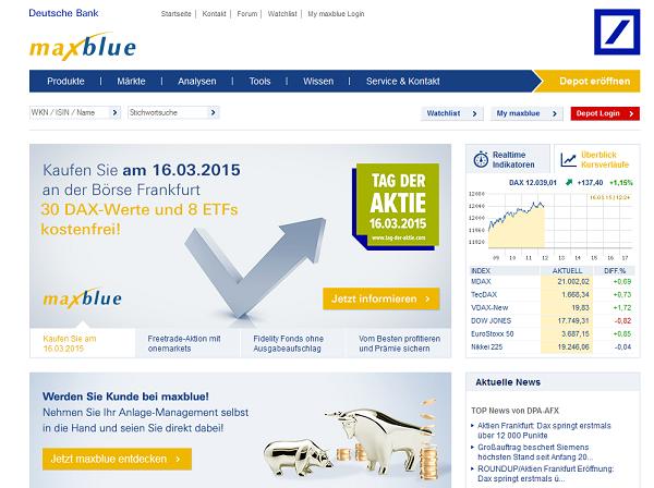 So sieht die Webpräsenz des Brokers maxblue aus
