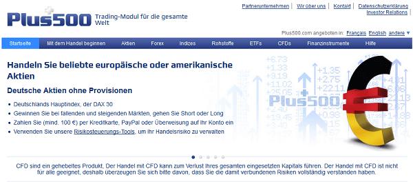 Webauftritt des Unternehmens Plus500