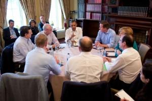 Treffen der Regierungschefs der USA und einiger europäischer Staaten zu TTIP einen Monat vor Beginn der Verhandlungen am Rande des G8 Gipfels in Enniskillen, Nordirland, im Juni 2013