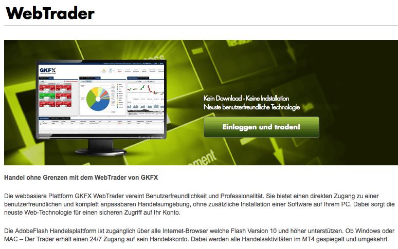 WebTrader von GKFX