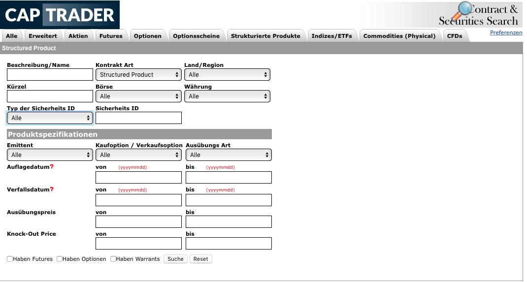 Zertifikate Auswahl CapTrader