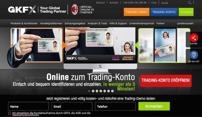 Die Homepage von GKFX