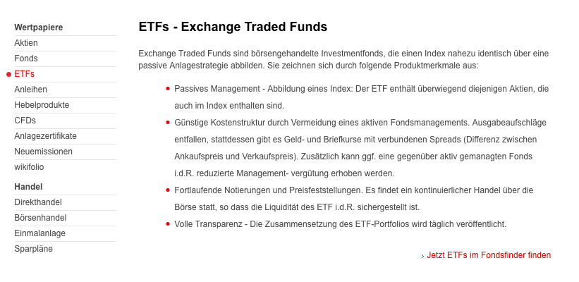 Was ist ein Exchange-traded funds (ETF) ?