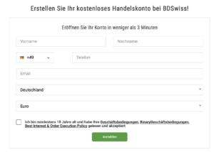 Die Registrierung bei BDSwiss erfolgt schnell und einfach