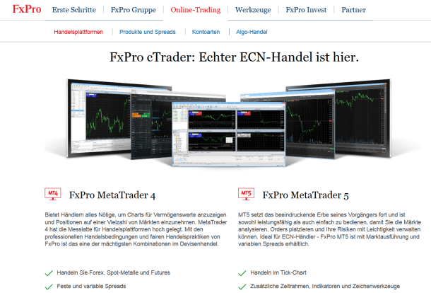 Eine Auswahl der Handelsplattformen bei FxPro