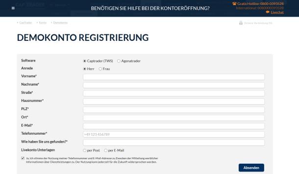 Das Eröffnungsformular für ein Demokonto bei CapTrader
