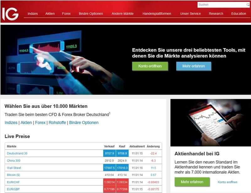 Screenshot IG Startseite