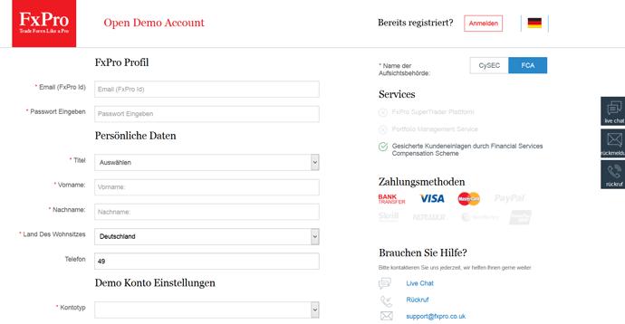 Das Eröffnungsformular für den FxPro Demo Account