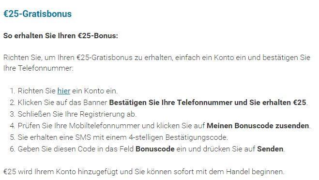Bonus bei markets.com