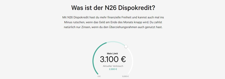N26 bietet finanzielle Freiheit mit dem N26 Dispokredit