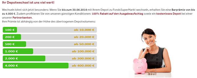 Fondssupermarkt Depotwechsel