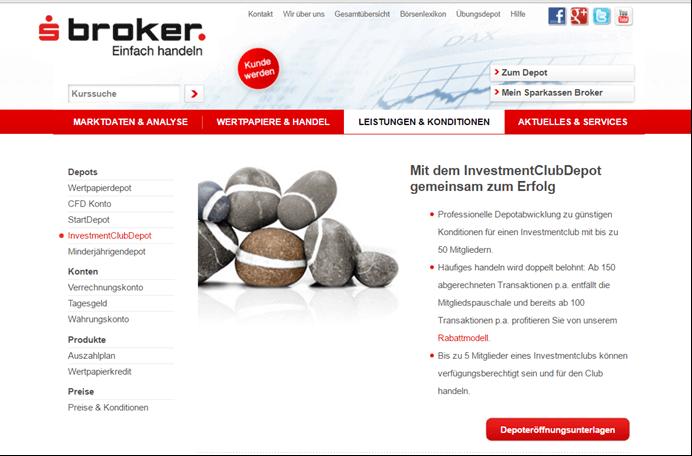 sBroker InvestmentClub Depot