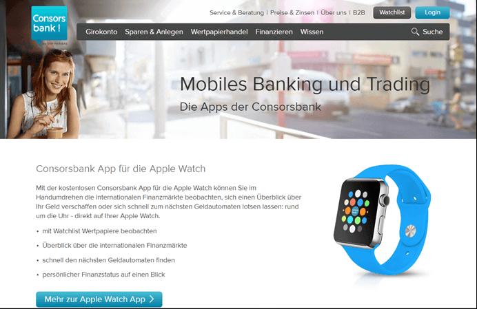 Consorsbank Mobiles Banking und Trading