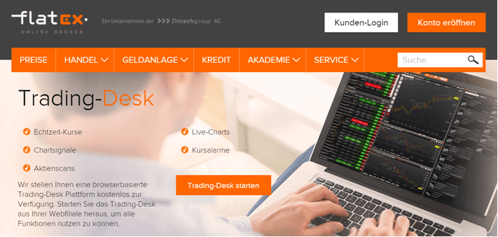 flatex Trading-Desk: Realtime-Kurse, Live-Charts & mehr