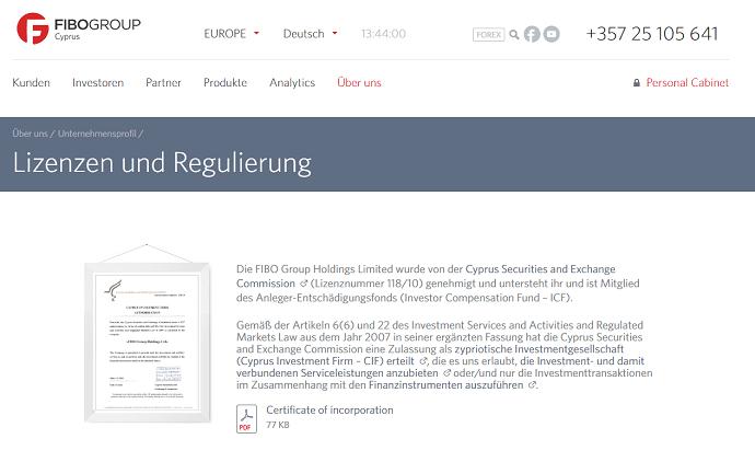 FIBO Group Regulierung