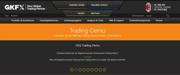 Das kostenfreie Demo-Konto von GKFX zum testen