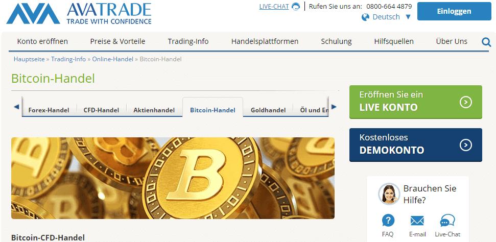 Bitcoin Handel bei Ava Trade