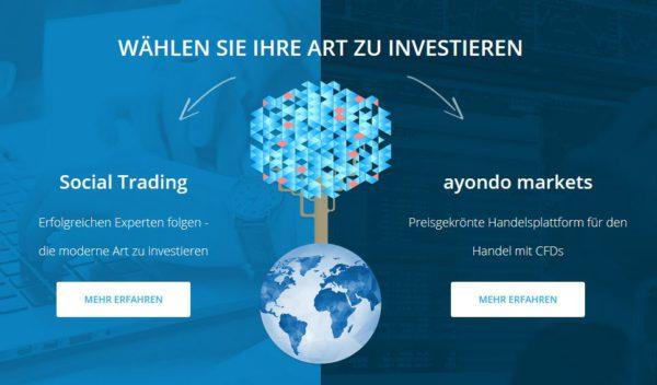 Die Website des Brokers ayondo